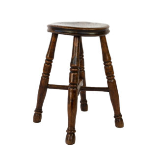 Round Fruitwood Work Stool With Four Turned Legs, Circa 1870.