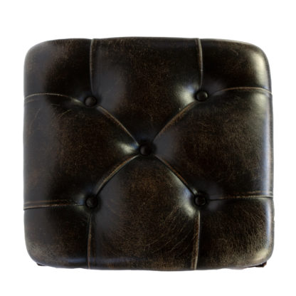 Arts And Crafts Period Square Stool Upholstered In Tufted Dark Leather, English, Circa 1880.