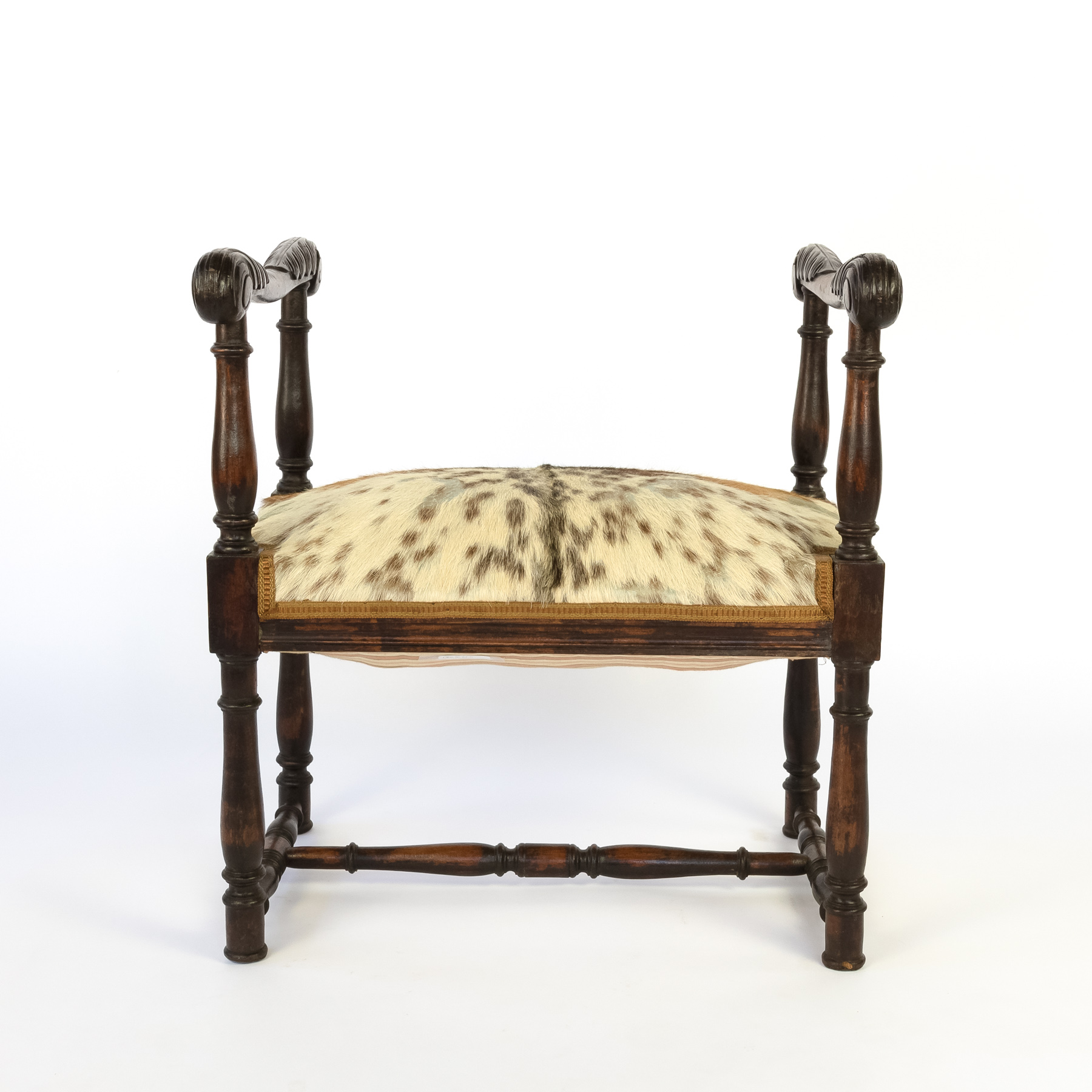 Tremendous Unusual French 19Th Century Carved Oak Upholstered Stool With Elaborately Carved Arms Creativecarmelina Interior Chair Design Creativecarmelinacom