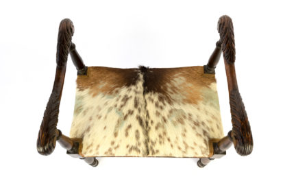 Unusual French 19th Century, Carved Oak Upholstered Stool With Elaborately Carved Arms.