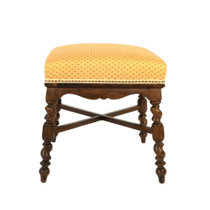 Elegant French Turned Walnut And Upholstered Stool, Circa 1870.