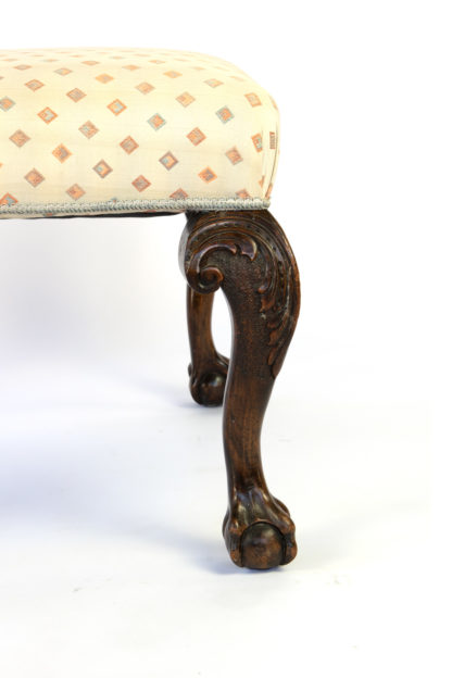Chippendale Style Carved Oak Upholstered Stool With Ball And Claw Feet; English, Circa 1900.