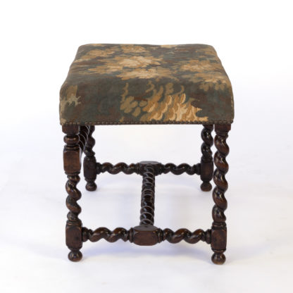 French Baroque Style Oak Barley Twist Stool with Tapestry Upholstery, Circa 1800.
