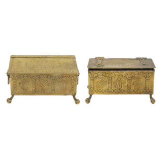 A Pair of Brass Dutch Style Table Top Cigarette or Tobacco Boxes; English, Early 19th Century.