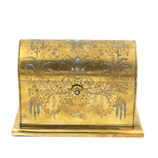 Rare Solid Brass Stationery Box Inlaid With Turquoise And Garnets, France, Circa 1860.