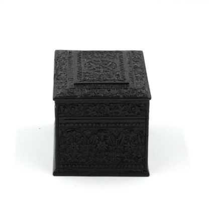 Small Scale Rectangular Anglo Indian Carved Solid Ebony Box, Ceylon, Circa 1850.
