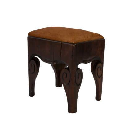 Unusual Early 19th Century Oak Stool With Carved Scroll Sides English Circa 1810