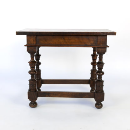 Low French Walnut Table With Beautifully Turned Legs And Box Stretcher, Circa 1850.