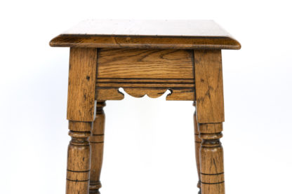 Pale Colored Oak Joint Stool With Box Stretcher, English Circa 1890.