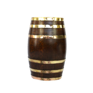 Handsome Brass Bound Oak Barrel; English, Circa 1890.
