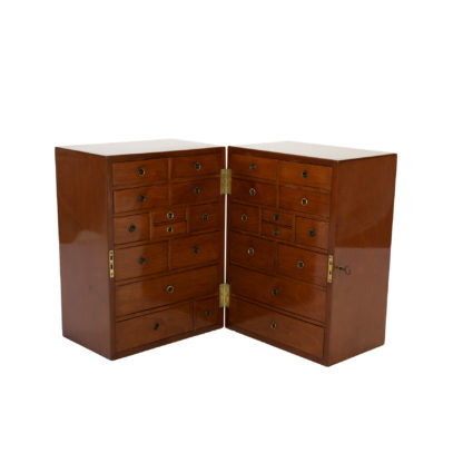 Solid Mahogany Campaign Style Apothecary Chest, Circa 1860.