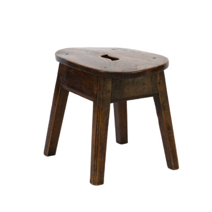 Oval Elmwood Work Stool With Pierced Top, Four Legs; English, Circa 1830.