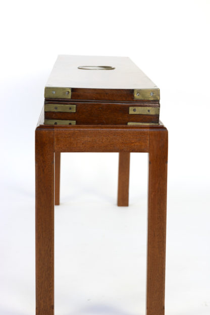 English Mahogany Campaign Gunbox On Later Mahogany Stand, Circa 1840