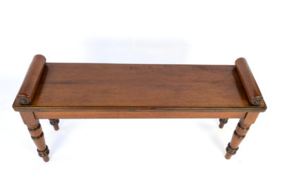Victorian Mahogany Hall Bench With Carved Bolster Arm-Rests; English, Circa 1870.