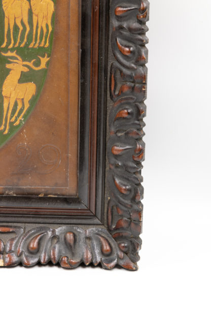 Framed Leatherwork Heraldic Coat Of Arms For Lincoln College, Oxford, England, Circa 1960.