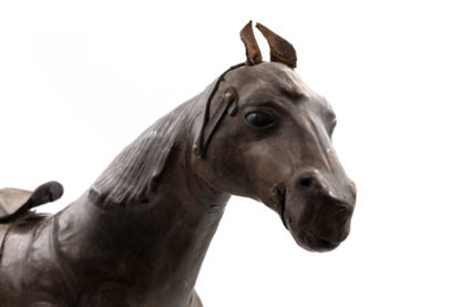 19th Century Leather Clad Model Of Horse With Glass Eyes, English, Circa 1870.