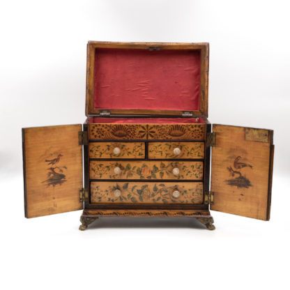 Petite Painted Table Cabinet With Decorative Painting On All Sides, English Circa, 1780