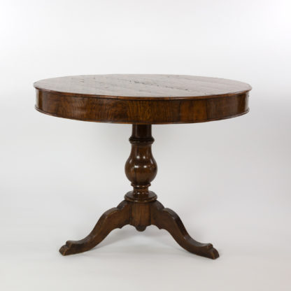 Italian Walnut Round Pedestal Base Center Table With A Concave Hexagonal Parquetry Inlay, Circa 1860