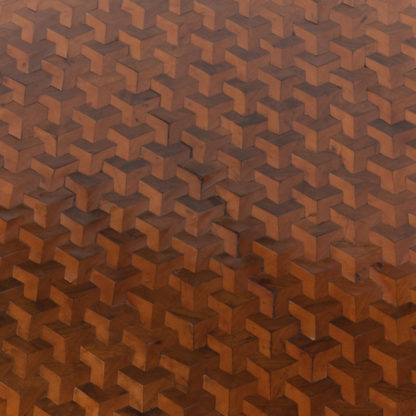 concave hexagonal parquetry inlay pattern employing three contrasting woods (satinwood, mahogany and walnut) resulting in 3D effect
