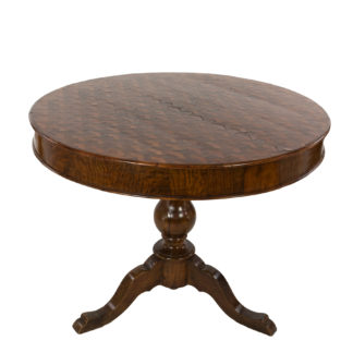 Italian Walnut Round Pedestal Base Center Table With A Concave Hexagonal Parquetry Inlay, Circa 1860