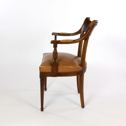 Neoclassical Style Mahogany Armchair With Turned Column Front Legs; Italy, Circa 1900
