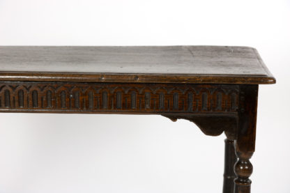 A 17th Century Joined Oak Side Table, Box Stretchers, Turned Oak Legs; English, Circa 1680.