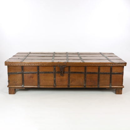A Very Large & Good Quality, Anglo-Indian Solid Teak And Iron Strapwork Trunk On Square Feet, Iron Hinges, India, Circa 1860.
