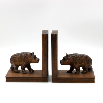 Pair Of Carved Oak Black Forest Bear Bookends, Swiss, Circa 1900.