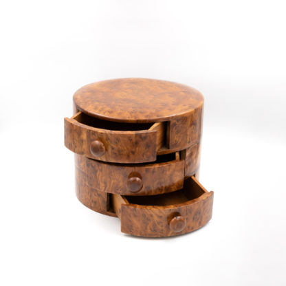Art Deco Miniature Round Chest Of Drawers Carved From A Single Ewe Wood Burl, Dutch, Circa 1940's