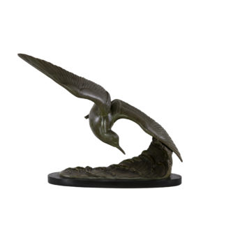 Patinated Art Nouveau-Styled Bronze Sculpture Of A Tern In-Flight by Irénée Rochard, French, Circa 1940.