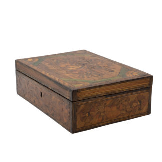 Napoleonic Period Prisoner of War Straw Work Box, Straw Marquetry Work, English Circa 1780.