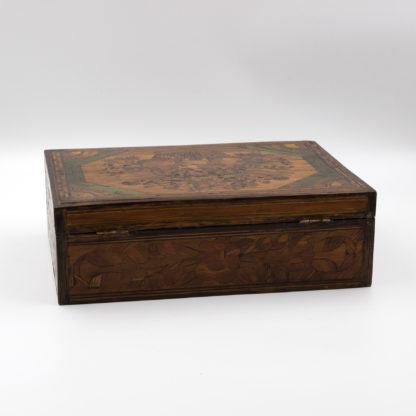 Napoleonic Period Prisoner of War Straw Work Box, Straw Marquetry Work, English Circa 1780.