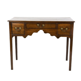 Georgian Oak Lowboy With Three Drawers, Chamfered Legs, English Circa 1750.
