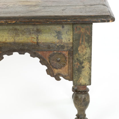 Green Painted Stool With Carved Apron And Turned Legs, French, Circa 1800.