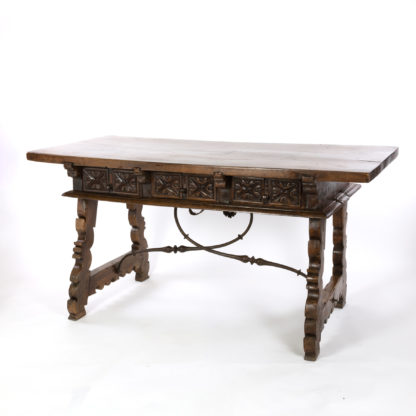 Spanish Baroque Period Walnut Writing Table With Lyre Base, Spain, Circa 1650.