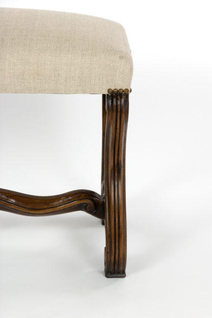 French Walnut Os De Mouton Carved Bench, Circa 1880, Upholstered In Linen.