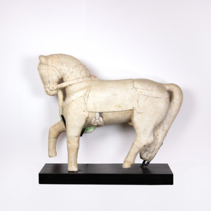 Carved Alabaster Horse On Stand, Rajasthan, Circa 1720.