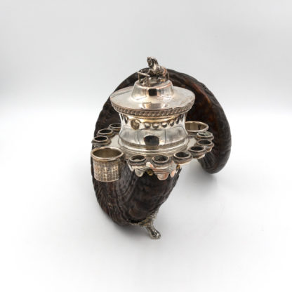 An Extraordinary Scottish Ram's Horn Snuff, Tobacco Mull With Dynamic Horse Jumping Finial, Circa 1850.