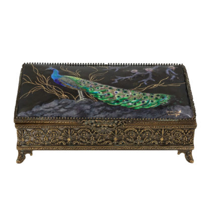 Limoges Enamelled Jewel Casket With Colorful Peacock, Signed, French, Circa 1910.