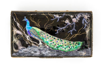 Peacock in enamel, Limoges Enamelled Jewel Casket With Colorful Peacock, Signed, French, Circa 1910.