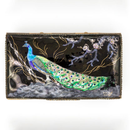 Peacock in Enamel on A Limoges Enamelled Jewel Casket With Colorful Peacock, Signed, French, Circa 1910.