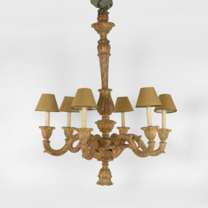 Large scale paint and parcel gilt carved wood scrolling six arm Italian chandelier, circa 1880
