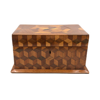 Large Cube Shaped Box With Tumbling Block Marquetry, Circa 1850.
