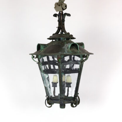 Arts and Crafts Period Bronze Hanging Lantern, English, circa 1900.