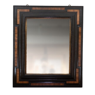 Large Scale Dutch Baroque Walnut And Ebony Mirror With Gilt Slip And Mercury Plate, Holland, Circa 1680.