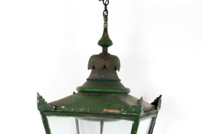 Large Scale Green Painted Copper Lantern, English, Circa 1880.