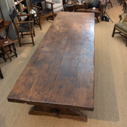 Monumental Walnut Farmhouse Table With Triple Trestle Bases; French, Circa 1890.