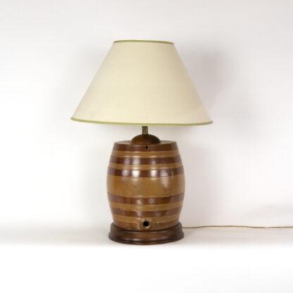 Striped Salt-Glazed Barrel, English, Circa 1880, Mounted As A Lamp.