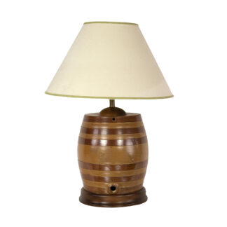 Striped Salt-Glazed Barrel, English, Circa 1880, Mounted As A Lamp.