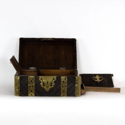 Sea Captain's Box With Pierced Brass Banding and Secret Compartments, English, Circa 1750